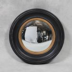 Black & Gold Round Wood Frame Convex Fisheye Mirror 40cm